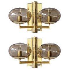Pair of Double Arm Wall Lights by Gaetano Sciolari