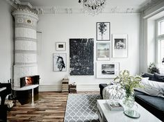 An elegant Swedish space with a crackling fire