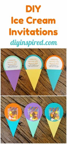 Easy DIY Ice Cream Invitations perfect for a Summer end of school year party.