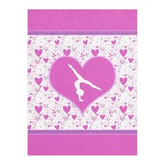 Pink Lots o' Hearts Gymnast Blanket - Warm up this meet season with this awesome fleece gymnastics blanket!  #gymnastics #blanket