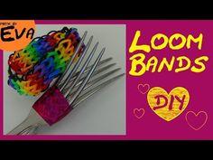 DIY Loom Bands Triple Single Rainbow - Armband mit Gabel selber machen - YouTube