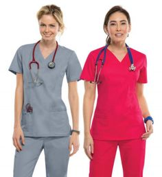 Look at our wide variety of scrubs! These are a junior fit, v-neck top featuring twill tape at the back neck and as an instrument loop on the right pocket. Also featured are multiple patch pockets with pencil slots, back princess seams, and side vents. #specworks
