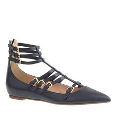 J.Crew - T-strap cage flats, a cross between a gladiator and a Mary Jane. #Spring2014