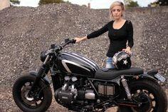 girl with custom honda goldwing bikes