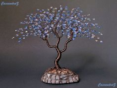 Blue Wire Tree Beaded Bonsai Sculpture 7.5 MADE TO by CassandraZ