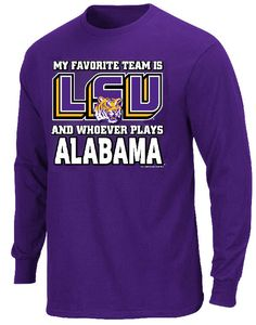 LSU Tigers My Favorite Team Purple Long Sleeve T Shirt $22.95