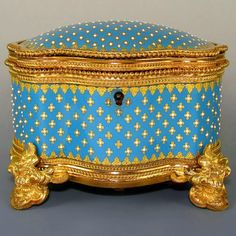 Fine Antique French Kiln-Fired Enamel & Gilt Bronze Jewelry Casket.