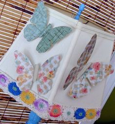 Upcycled wallpaper butterfly magnets. - Mod Podge Rocks