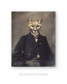Cat Art Print Wildlife Cougar Mountain Lion by WatchfulCrowArts