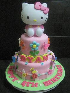 57 ideas of best birthday cake hello kitty 2019 Hello Kitty Torte, Torta Hello Kitty, Hello Kitty Birthday Cake, Hello Kitty Fondant, Fondant Cakes, Cupcake Cakes, Cake Pops, Garden Theme Cake, Hello Kitty Themes