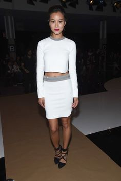 Jamie Chung attends Edun during Mercedes-Benz Fashion Week Spring 2015 at Skylight Modern on September 7, 2014 in New York City.  (Photo by Gary Gershoff/WireImage)