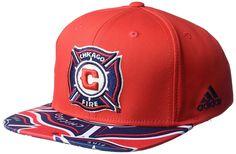 eda7d27cf34d9d MLS Chicago Fire Adult Men MLS Fan Wear Script Logo Flat Brim Snapback,  $10.74