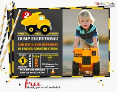 Dump truck invitation with photo, Construction invitation, Dump truck birthday party, chalkboard invitation, Free thank you card 002