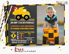 Dump truck invitation with photo, Construction invitation, Dump truck birthday party, chalkboard invitation, Free thank you card 002