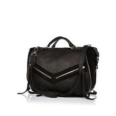 Black leather zip and tassel bowler bag £70.00