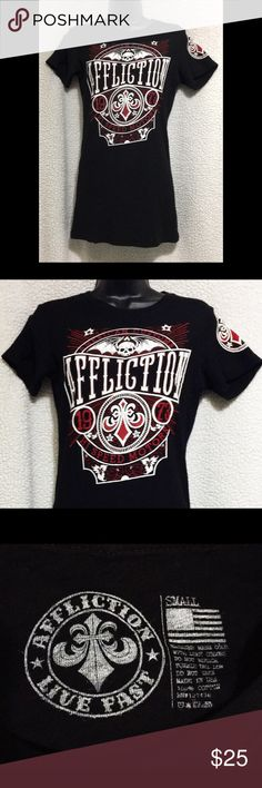 Affliction Live Fast Hi Speed Motors T-shirt NWOT NWOT and never worn. Affliction American Customs Hi Speed Motors T-shirt. Black with red and white logo on front as well as on the sleeve.  Awesome design!! From the Live Fast Collection.   Affliction Live Fast T-shirt Affliction Tops Tees - Short Sleeve