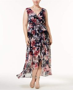 Sangria Plus Size Printed Ruffle Maxi Dress #affiliatelink
