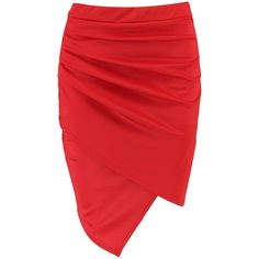 Boohoo Gracie Rouched Side Asymetric Mini Skirt ($9) ❤ liked on Polyvore featuring skirts, mini skirts, holographic mini skirt, short skirt, pleated skirt, short maxi skirt and red maxi skirt