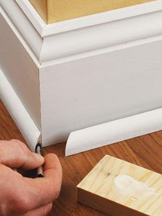 Base Shoe Molding - How to Install Baseboard Molding - Carpentry, Woodworking, Finish & Trim. DIY Advice Base Shoe Molding - How to Install Baseboard Molding - Carpentry, Woodworking, Finish & Trim. Baseboard Styles, Baseboard Molding, Moulding, Wainscoting, Floor Molding, Home Depot Baseboard, Molding Ideas, Home Improvement Projects, Home Projects