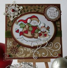 Snowman String of Hearts [C1145] - $8.50 : Whimsy Stamps