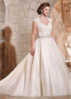 Elegant Organza Queen Anne Neckline A-line Plus Size Wedding Dress With Embroidery