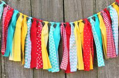 Fabric Rag Garland Bunting Banner CUSTOM You by themoderndaisy, $24.00