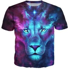 852cf2038f Round Neck 3D Color Block Lion Print Short Sleeve Stylish T Shirt For.