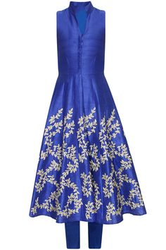 Blue leaf embroidered kalidaar dress kurta with blue straight pants available only at Pernia's Pop Up Shop..#perniaspopupshop #newcollection #festive #designer #clothing #aharin
