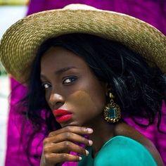 Shot by Katerina Yak - Bisous Natasha Dark Skin Girls, Dark Skin Tone, Brown Skin, Bright Red Lipstick, Bright Lips, Different Shades Of Black, Coloured Girls, My Black Is Beautiful, Black Girls Rock