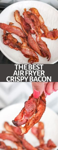 Air Fryer Bacon is the EASIEST method for cooking bacon. Avoid the greasy mess, and the bacon turns out deliciously crispy and perfect!