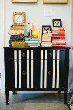 DIY Black & White Striped Dresser