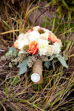 Bouquet|Orange & Sangria Rustic Fall Wedding| Photo by: kaceyphotography.com