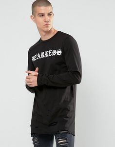 Image 1 of ASOS Longline Long Sleeve T-Shirt With Distressed Hem And Fearless Print