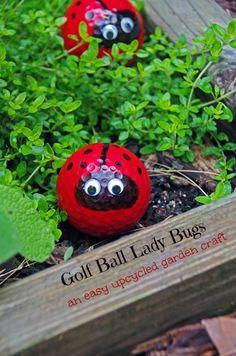 Golf Ball Lady Bug Craft Makes Very Pretty Upcycled Garden Decor!