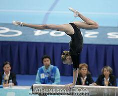 Svetlana Khorkina (Russia) on balance beam at the 2004 Athens Olympics