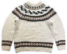 VINTAGE 1990/'s Women/'s Small Norwegian Icelandic Chunky Knit Wool Cardigan Scandinavian Sweater Orange Beige Fair Isle Button Up Jumper Top