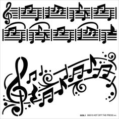 """Hot Off The Press 6"""" x 6"""" Stencils - Music Notes   Happy Crafting   Blitsy"""