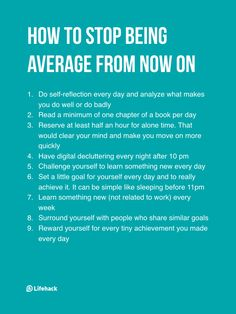 "I love this. It's all super useful! ""How to stop being average from now on..."""