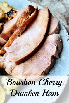 Bourbon Cherry Drunken Ham is a simple ham shank with a ton of flavor.  A little sweet, a little tangy, mixed up with a little smoky flavor.  This simple holiday ham can be made to please a big crowd or just a small family get together, and can be fully cooked in under 90 minutes!