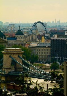 Budapest, Hungary. I've walked that bridge. I've walked all over this city.  I've been in that Faris wheel!