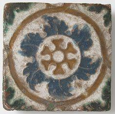 Tile, Geometric Design - earthenware glaze, Spain, 16th century