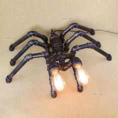Novelty Machine Age Pipe Steampunk Spider Double Light Retr Table / Desk Lamp #JYIndusttrialLighting #Industrialera