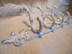 Wall Hook-White Coat Rack-Distressed Rustic Shabby-Organizer-Fleur De Lis -Cast Iron-Paris Apartment Chic-French Country on Etsy, $23.00