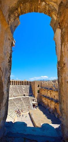 The Roman Theatre of Aspendos, Turkey/Aspendos - an ancient Greek city in Asia Minor, the best preserved ancient city with seats, also used for artistic shows. The village is located 50 km from Antalya. Ancient Ruins, Ancient Rome, Ancient Greek, Ancient History, Great Places, Places To See, Beautiful Places, Antalya, Wallpaper Paisajes