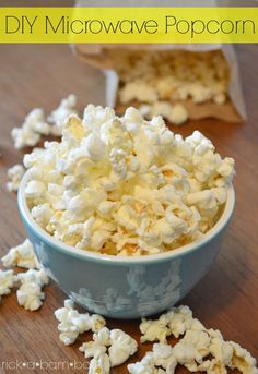 DIY microwave popcorn is a quick, easy, and healthy snack. It tastes just like air popped, but without the use of an air popper. Recipes Appetizers And Snacks, Snack Recipes, Popcorn Recipes, Yummy Recipes, Recipies, Food Hacks, Food Tips, Cooking Tips, Healthy Snacks For Kids