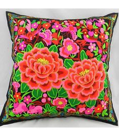 Chinese Ethnic Handmade Embroidered Flowers Cushion/Throw Pillow Cover SL05 - Miyachy.com