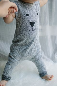 Polar bear face romper