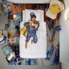 Let your little ones fight evil with Snurk's SuperHero Blue Duvet Set, Single A photographic print of a blue superhero on a white duvet cover will let your children of all ages live their fantasy of running around, with there own superhuman powers. Childrens Duvet Covers, Childrens Beds, Blue Duvet, Blue Bedding, Duvet Bedding, Linen Duvet, Cotton Bedding, White Duvet Covers, Pillow Covers