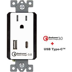 Quick Charge 30 Type C USBC Dual USB In Wall Charger Outlet TOPGREENER TU1152QCAC3 for Galaxy S7S6EdgeEdge plus LG G5 Nexus 6 iPhone 67 iPad AirPro QC30 QC20 Smart Devices -- You can find out more details at the link of the image.Note:It is affiliate link to Amazon.