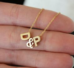 Tiny Gold Ampersand and Initial Necklace